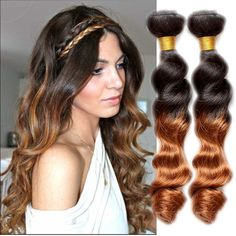 Stylish New 100g/pc 1B/30# Ombre High Quality Loose Wave Human Hair Extensions #WIGISS #HairExtension