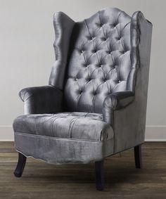 grey madison velvet wing chair
