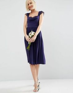 ASOS WEDDING Lace Insert Cowl Midi Dress
