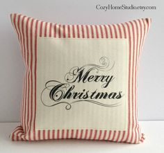 "14"" pillow cover. Classic red ticking fabric with script Merry Christmas."