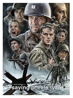 Saving Private Ryan, and Illustrated film poster. My submission to the 'Imagined Worlds' show at the Hero Complex Gallery. Films Cinema, Cinema Posters, Cinema Arts, Fan Poster, Movie Poster Art, Old Movies, Great Movies, Saving Private Ryan, Bon Film