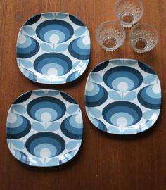 Orla Kiely Orla Kiely - Assiett i melamin - 70s FLOWER BLUE