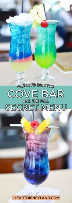The quick guide to Disney California Adventure's Cove Bar with the full secret drinks menu and food items.