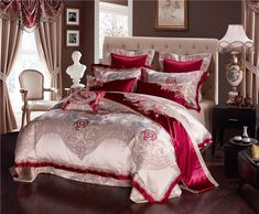 FREE Worldwide Shipping On Our Entire Collection Of Jacquard Satin Silk Bedding Sets & Duvet Covers available in Queen and King Size with a Flat Discount. Purple Bedding Sets, King Size Bedding Sets, Girls Bedding Sets, Luxury Bedding Sets, Comforter Sets, Satin Bedding, Cotton Bedding Sets, Royal Bed, Bedclothes