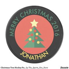 Christmas Tree Hockey Puck