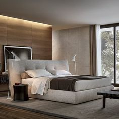 Double bed / contemporary / fabric / leather REVER Poliform