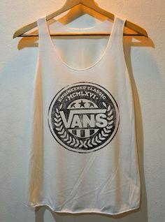 Vans Worn Out Logo Pop Punk Rock Tank Top Vest Ladies Freesize