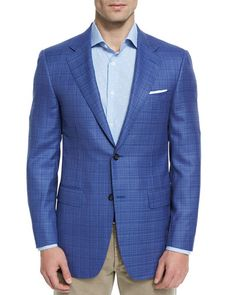 N44LW Canali Sienna Contemporary-Fit Textured Sport Coat, Light Blue