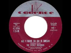 In 1958 The Everly Brothers continued with another streak of hits and toured a lot (I got to see them that year live) -- and one of their biggest No 1 hits in '58 was 'All I Have To Do Is Dream'