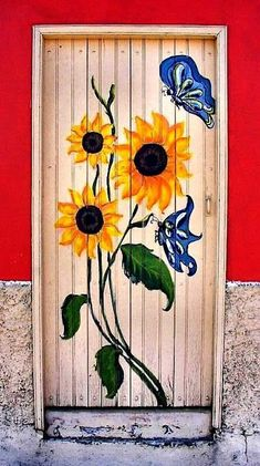Perfect Designs of Flower Door to Beautify Your House Cool Doors, Unique Doors, Entrance Doors, Doorway, Garden Doors, Bedroom Doors, Painted Doors, Door Knockers, Door Design