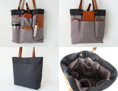 Dark navy tote / diaper bag / shoulder bag leather par BagyBags