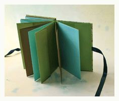 I love little books...if you don't want to poke holes in your work...use this technique.  How to bind a book with an accordion spine