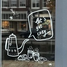 www.drawink.nl LET'S GET COZY #windowdrawing #winter #cozy Getting Cozy, Neon Signs, Let It Be, Winter, Illustration, Winter Time, Illustrations, Winter Fashion