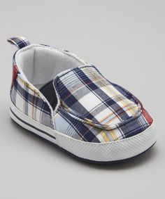Take a look at this Adorababy Blue Plaid Slip-On Sneaker on zulily today!