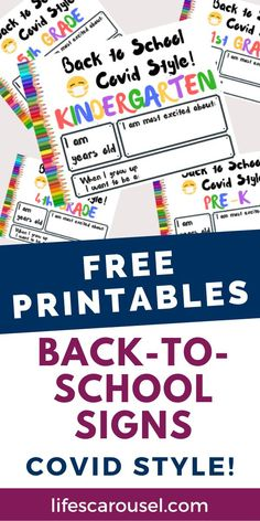 Free printable back-to-school signs! Perfect for in-person or virtual school. Celebrate your child's return to school with these free first day of school signs that you can print at home. Pre-K, Kindergarten, 1st grade, 2nd grade, 3rd grade, 4th grade and 5th grade. First Day School Sign, School Signs, Back To School, School Photos, Teaching Kindergarten, Single Parenting, School Organization, 5th Grades, Learning Activities