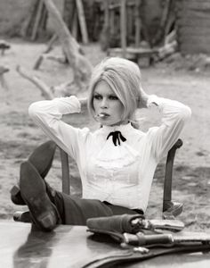 Brigitte Bardot on the set of Shalako, 1968