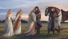 Indis and her daughters saying farewell to Fingolfin and Fingon as they prepare to leave Aman. Art by tomopotato