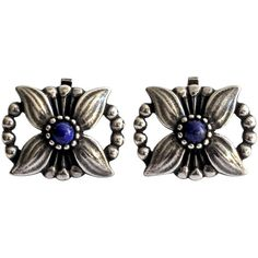 Preowned Georg Jensen Lapis Sterling Earrings (€380) ❤ liked on Polyvore featuring jewelry, earrings, multiple, flower jewelry, beaded earrings, clip on earrings, georg jensen earrings and clip earrings