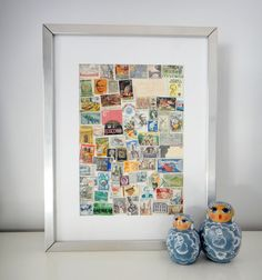 What to do with that old stamp collection?  Make a framed collage :)