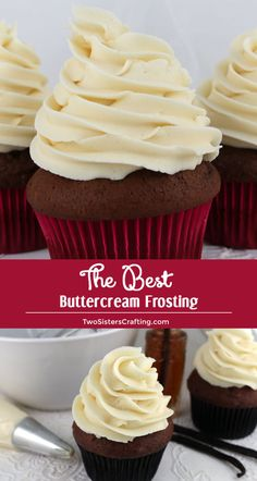 Best Buttercream Frosting Recipes The Best Buttercream Frosting I have found so far, seriously delicious and easy to make and use!The Best Buttercream Frosting I have found so far, seriously delicious and easy to make and use! Vanilla Frosting Recipes, Best Buttercream Frosting, Cupcake Frosting Recipes, Best Icing For Cupcakes, Decorating Frosting Recipe, Homemade Cupcake Icing, Best Butter Cream Frosting Recipe, Basic Buttercream Frosting Recipe, Bakery Frosting Recipe