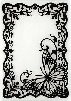Butterfly Frame Embossing Folder by Hot Off The Press Inc - fancy frames - Paper Kirigami, 3d Zeichenstift, Stencils, Paper Art, Paper Crafts, Butterfly Frame, Butterfly Stencil, Wood Burning Patterns, Parchment Craft