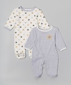 Look at this #zulilyfind! René Rofé Baby Gray Star Footie Set by René Rofé Baby #zulilyfinds