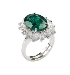 Lot 170 An 18K white gold and natural white gold and natural emerald ring  http://www.colasantiaste.com/?language=en