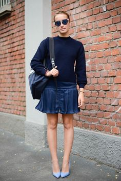 Pin for Later: How to Wear a Miniskirt the Right Way With girlie pleats and heels.