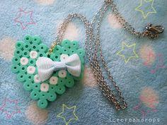 Digital love kawaii green perler beads heart necklace by icecream_drops