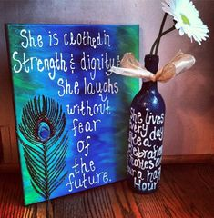 Made these for my best friend's birthday. I loved being able to stalk her favorite quotes on Pinterest in order to personalize the canvas and the wine bottle.