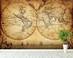 Items similar to World map wall mural, Vintage old map of the world Repositionable peel & stick fabric wall paper. Poster Mural, Art Mural, Wall Murals, World Map Mural, World Map Wallpaper, Old World Maps, Old Maps, Vintage Maps, Antique Maps