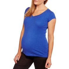 Planet Motherhood Maternity Short Sleeve Vneck Tee--Available in Plus Size, Size: Large, Blue