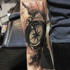 Black and grey tattoo of a compass by Piotr Dedel | Intenze ink