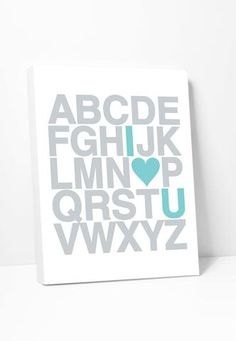 Canvas Print: I Love You Alphabet in Silver and Turquoise