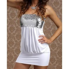 Sexy Strapless Sequined Solid Color Dress For Women