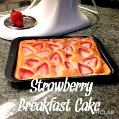 Healthy Strawberry Breakfast Cake Recipe. High protein, grain free, dairy free, sugar free, so good!!