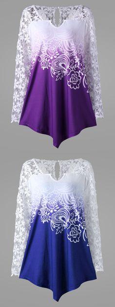 Plus Size Lace Yoke Ombre Top
