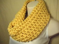 ButterCream Yellow Cowl Infinity Circle Scarf by madebymandy35