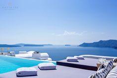 Katikies Hotel   NEW infinity pool   summer breeze   Santorini, Greece