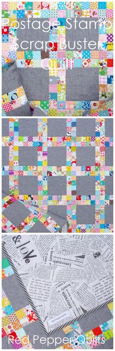 A Finished Quilt. QUILT DETAILS Postage Stamp Scrap Buster Quilt The finished quilt measures 50 inches x 50 inches. 204 four-pa...