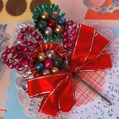 Vintage / Christmas Corsage / Mercury Glass by chocolateletters, $9.95