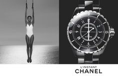 Chanel watch campaign: model is juxtaposed next to a close up of a watch's face, in which the hands mirror what the model is doing