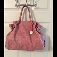 Amazing Furla Pink Silver Leather Tote Bag AMAZING!!  Silver hardware.  Snap closure.  2 interior pockets (1 zips).  Measures: 13x4.5x10.5x5.  Hang tag.  Some minimal wear on corners and bottom. Furla Bags Totes