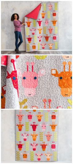 Safari Park Quilt kit by Craftsy. Giraffe quilt made up with traditional quilt piecing. Animal quilt pattern. Giraffe quilt pattern. Affiliate link.