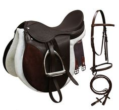 All-Purpose English Saddle Start Set. Comes complete with stainless steel stirrup Irons, girth, Stirrup leathers, leather headstall and saddle pad. Traditional deep seat and grain leather jockeys, fla