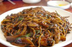 Jajangmyeon (자장면/짜장면): Wheat noodles topped with salty black soybean paste (춘장)