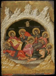 The Seven Sleepers of the Ephesos Painting by Emmanuel Tzanes Reproduction Byzantine Icons, Byzantine Art, Religious Icons, Religious Art, Christian Artwork, Most Famous Paintings, Best Icons, Oil Painting Reproductions, Orthodox Icons