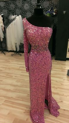 Most Sparkle Sequins Prom Evening Dress,One the Long Sleeves Unique Prom Dress,Side Split Charming Prom Dress,181