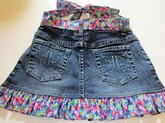 My latest sewing project for my granddaughters, Hallie and Sadie...Up-cycled Jean's Apron. When my friend, Janice and I went to Jamespor...