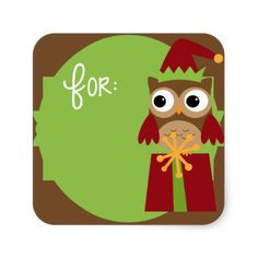 Christmas Owl Name Label Elf Green | Cute owl stickers for Christmas presents